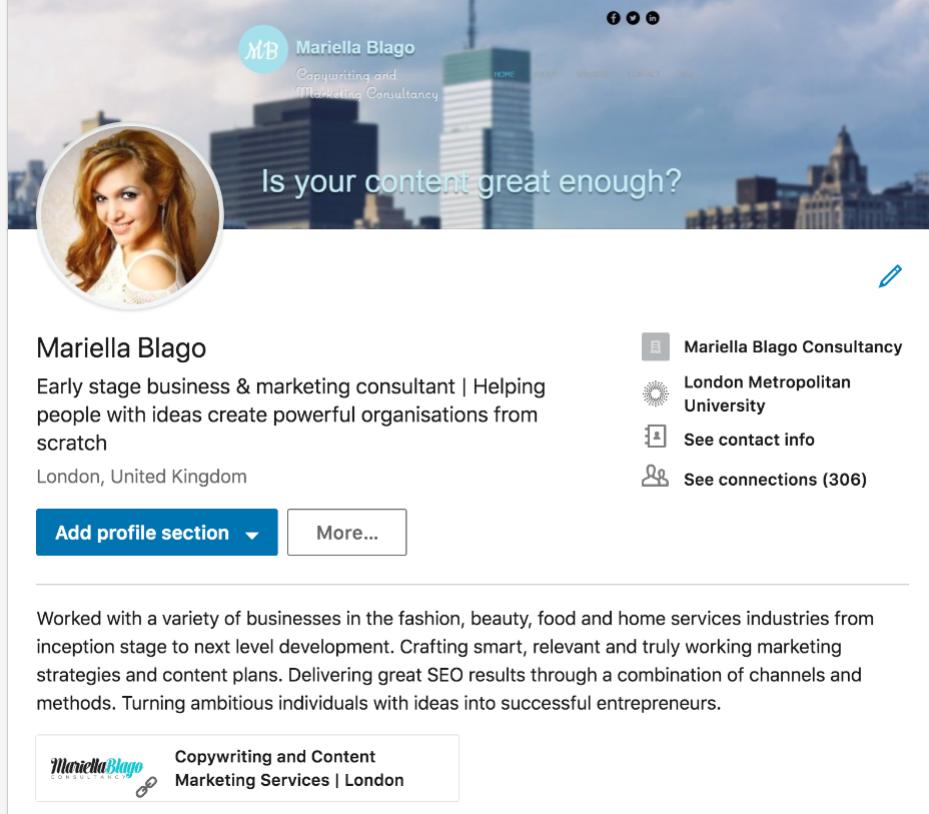 Mariella Blago LinkedIn profile