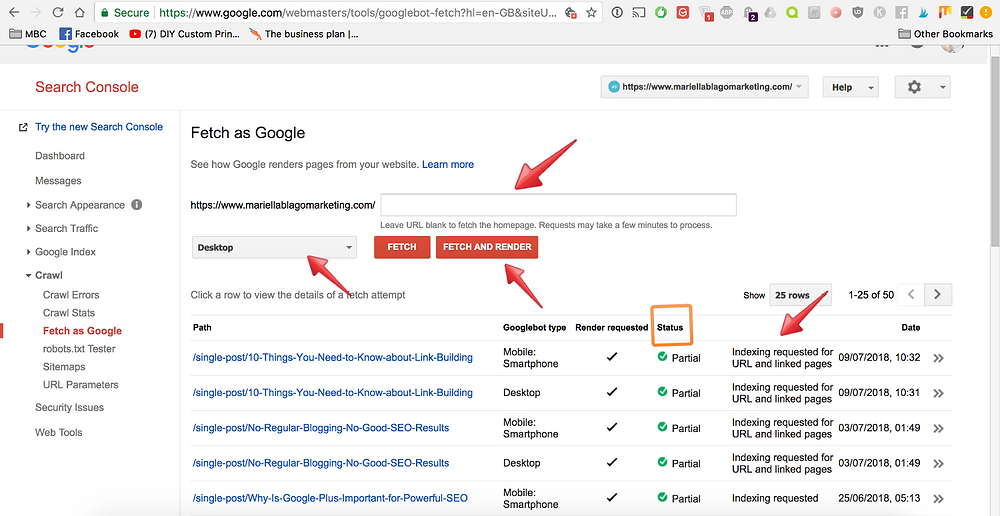 Indexing pages on Google Search Console