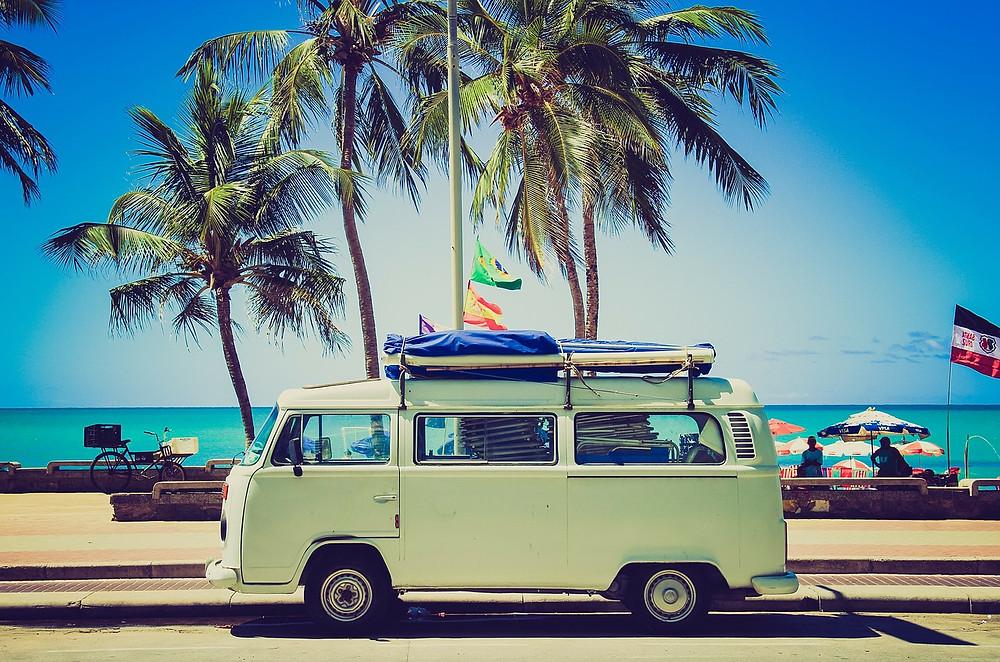 Holiday minivan on the coast