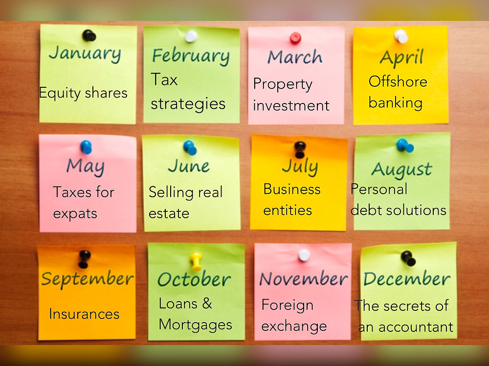 content calendar for the financial industry