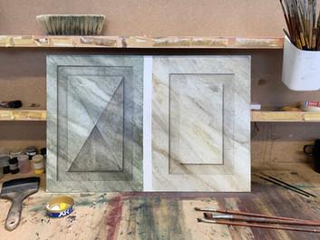 Imitating marble and wood.