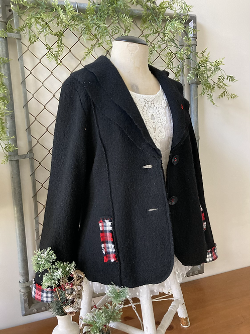 Plaid and Wool Jacket Cardigan