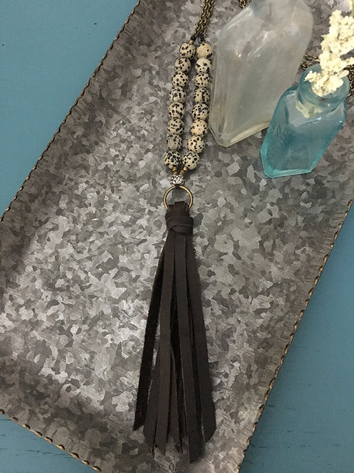 Leather and Bead Necklace