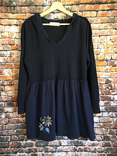 Navy Tunic Hoodie With Flowers