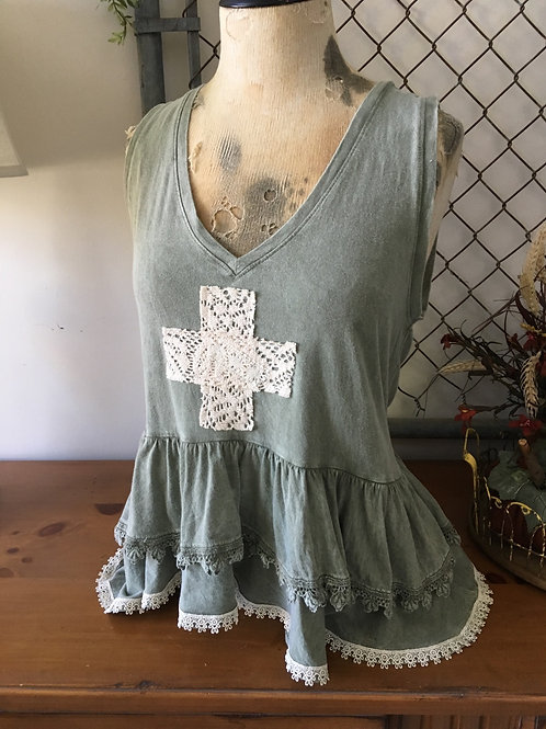 Lace Cross Top