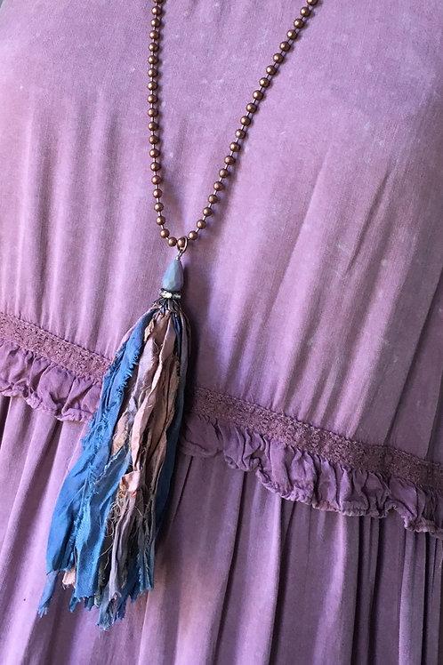 Antique Blue and Rose Tassle Necklace