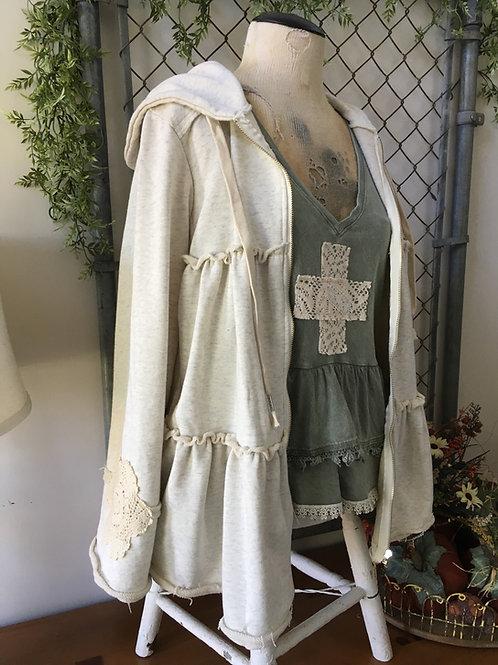 Tiered Hoodie w/ Vintage Lace