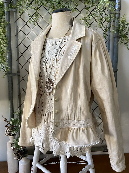 Antique Denim Jacket with Lace
