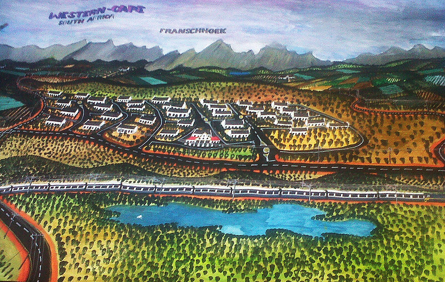 Titus Matiyane, Panorama of Franschhoek, 2016. R30000.00 2013