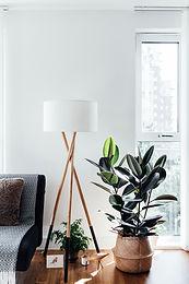 Hoek van een stijlvolle woonkamer