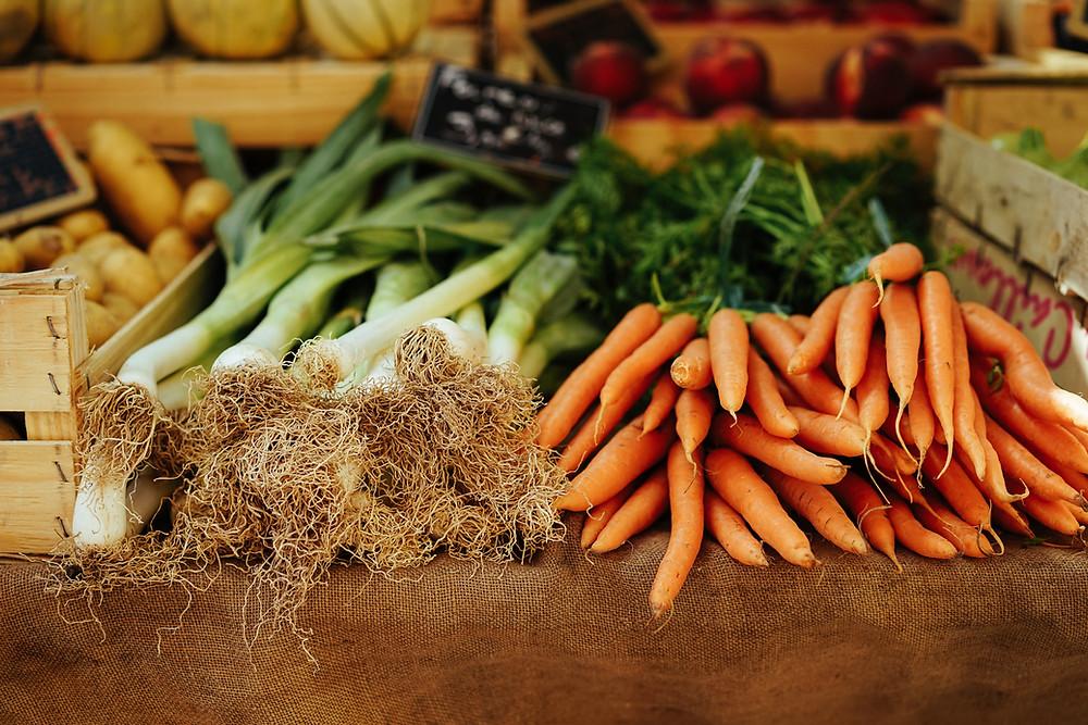 fresh carrots, leeks and potato