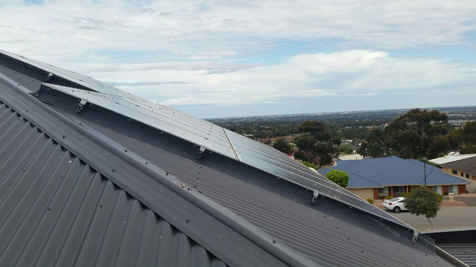 Gutter guard used to stop nesting birds under solar panels