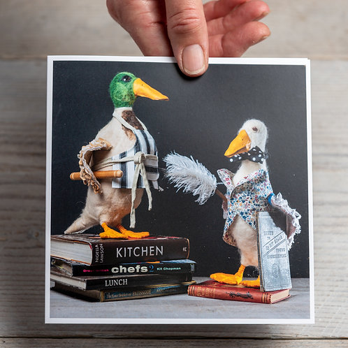 Greeting Card - The Chef & Neville the  Ducks