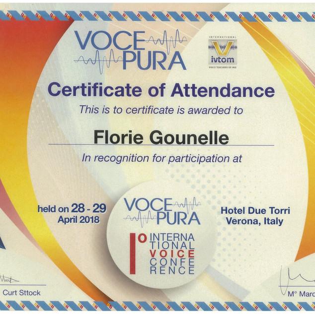 Certification Voce Pura 2019