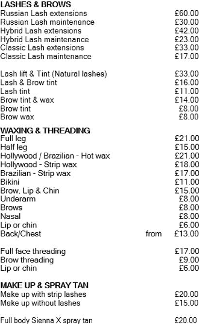 Karisma Nails & Beauty Pricelist