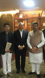 Our Director Mr. Shivanshu with Union Cabinet Petroleum Minister (Shri Dharmendra Pradhan) and Dr. Mahesh Gupta owner of Kent RO Ltd.