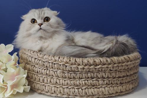 Круглая эко лежанка для кошек и собак ручной работы с плотным бортом. Размер XXL