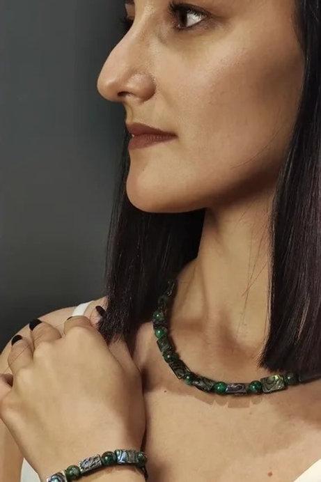 Набор: ожерелье и браслет «Краски воды»