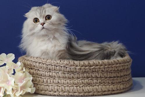 Круглая эко лежанка для кошек и собак ручной работы с плотным бортом.  Размер М