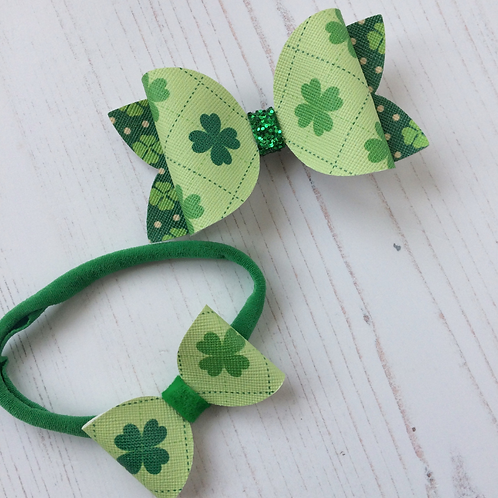 Lucky Clover Hair Bow