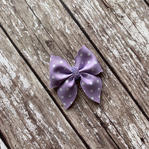 Lavender Polka Dotted Hair Bow