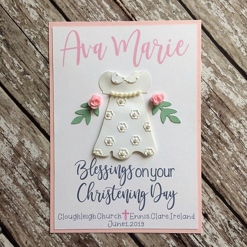 Personalised White Gown Christening Card