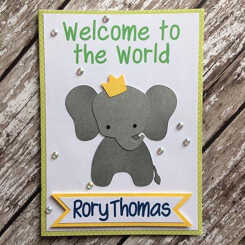 Handmade New Baby Elephant Card