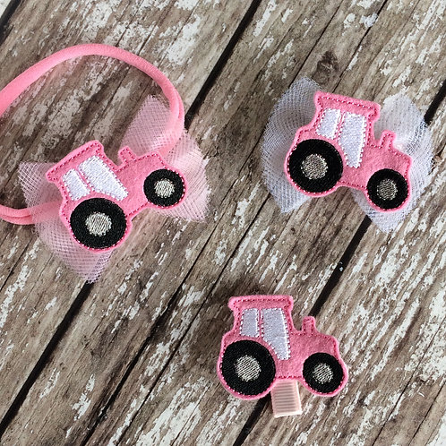 Pink Tractor Feltie Hair Bow