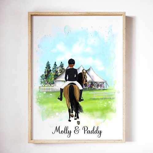 DIGITAL Personalised Horseback Riding Artwork