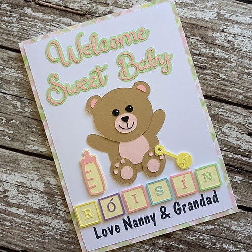 Handmade New Baby Teddy Card