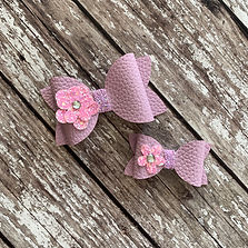Flower Faux Leather Hair Bow by Charmed