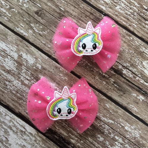 Hot Pink Tulle Unicorn Bow