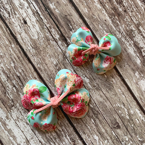 Turquoise Petal Pinch Hair Bow