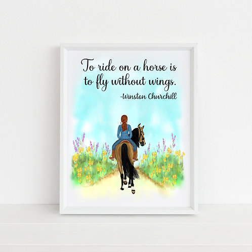 Personalised Horseback Riding Art Print