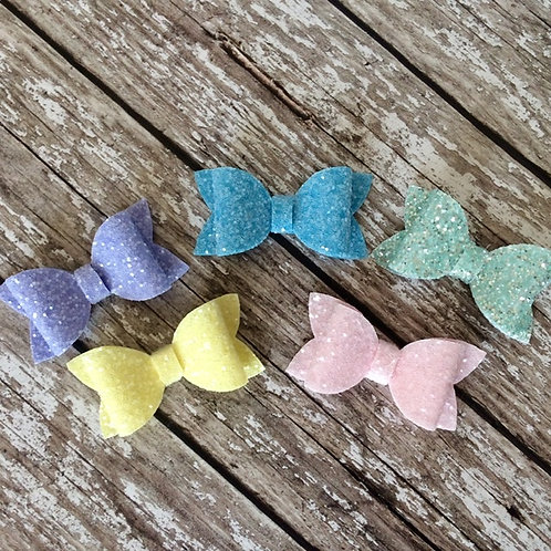 Small Pastel Chunky Glitter Charmed Bow