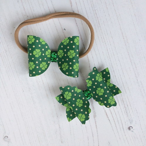 Green Clover Hair Bow