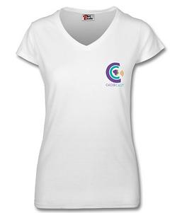 Ladies V-Neck T-Shirt Small Logo.png