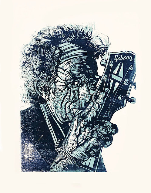 Keith Richards Lino Print