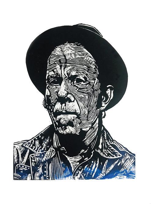 Tom Waits Lino Print