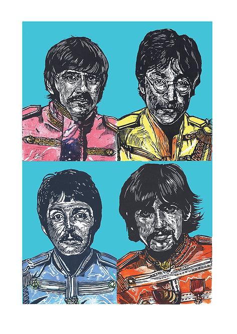 The Beatles Lino Print
