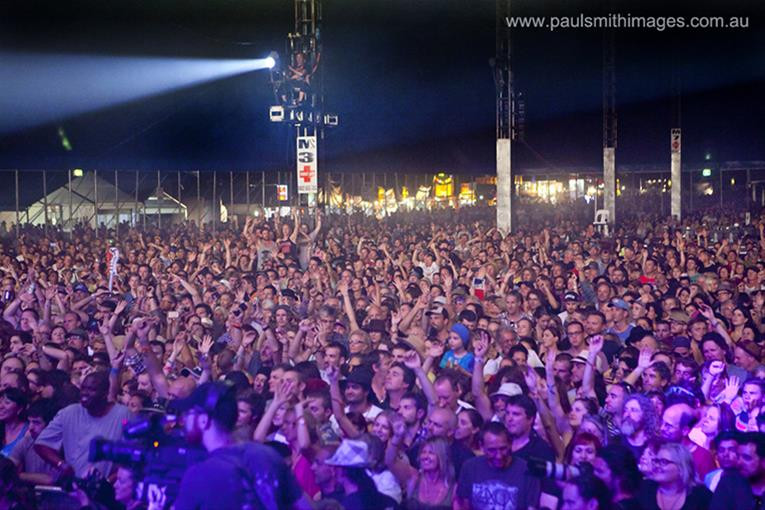 A crowd gathered at Byron Bay for BluesFest 2014