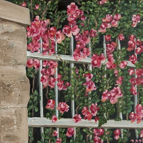 Blooming Flowers Painting - A Fence