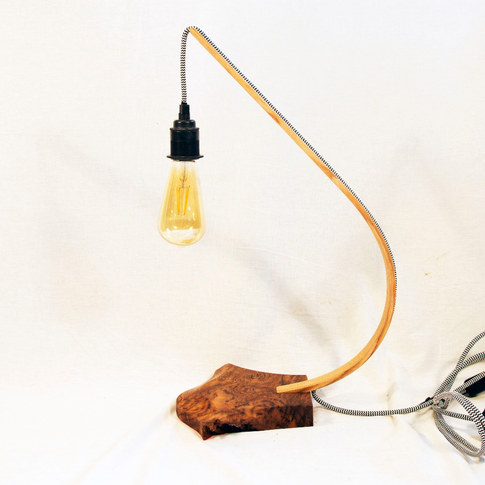 brown oak and ash steam bent lamp side o