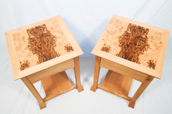 Side Tables Brown Oak Tops