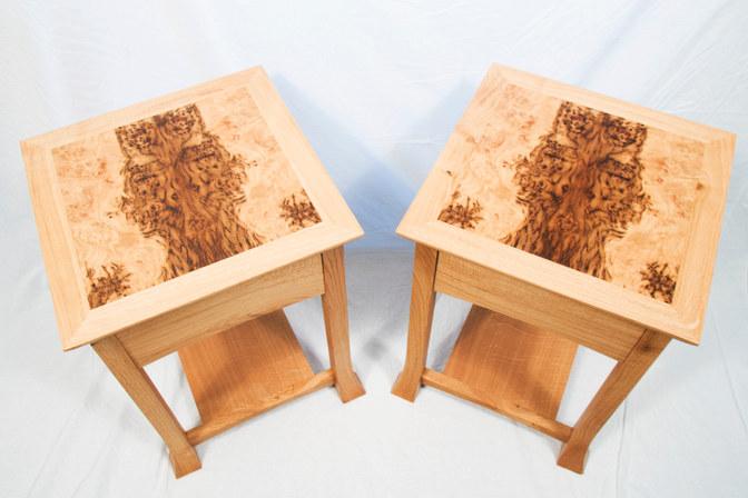 Side Tables Brown Oak Tops