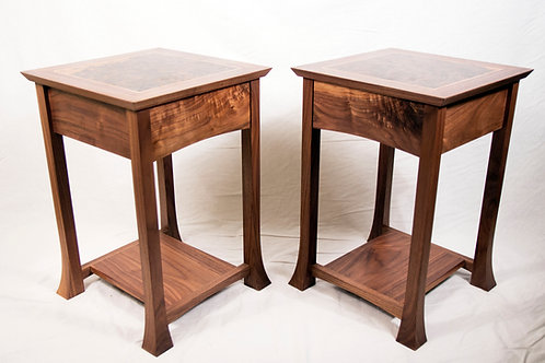 Walnut end tables (pair)
