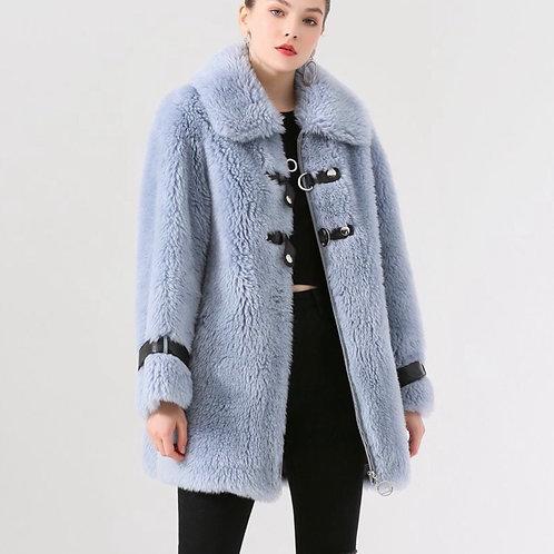 Chaqueton tres cuartos de lana: Azul bebé