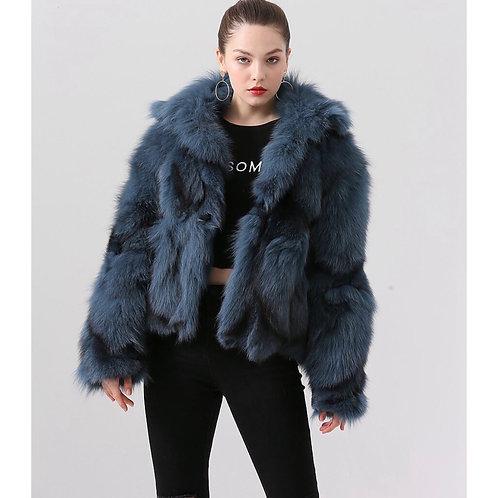 Abrigo de zorro corto: Color azul