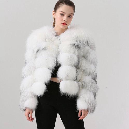 Abrigo de zorro corto - blanco jaspeado