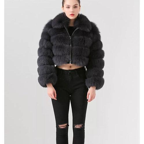 Abrigo corto cremallera - gris plomo